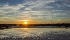 4K Sunset Time Lapse Olhao Ria Formosa Salt Pan - Tilt Stock Footage