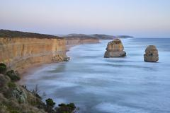 Limestone Stacks at Dusk, The Twelve Apostles, Princetown, Great Ocean Road, - stock photo