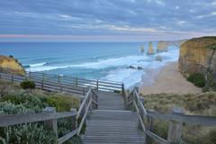 Wooden Staircase to Viewpoint, The Twelve Apostles, Princetown, Great Ocean - stock photo