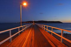 Stock Photo of Wooden Walkway at Dusk, Granite Island, Victor Harbor, South Australia,