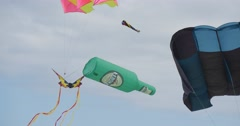 Bottle Air Swimmer and a Butterfly Kite - Kites And Air Swimmers of All Kinds Stock Footage