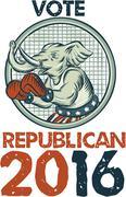 Vote Republican 2016 Elephant Boxer Etching - stock illustration