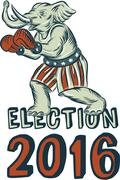 Election 2016 Republican Elephant Boxer Etching Stock Illustration