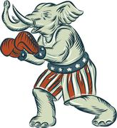 Republican Elephant Boxer Mascot Isolated Etching - stock illustration