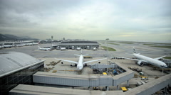 Time lapse Hong Kong International Airport transportation Chek Lap Kok China Stock Footage