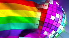 Disco ball revolving with gay pride flag Stock Footage