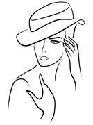 Elegant young woman in a hat - stock illustration