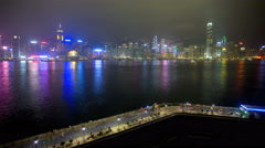 Time lapse Hong Kong Tsim Sha Tsui Promenade night China Asia - stock footage