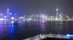 Time lapse Hong Kong  illuminated Victoria Harbour ferries China Stock Footage