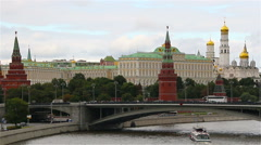 Moscow, Russia. The Kremlin and the Moscow River. Stock Footage