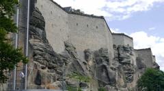 Walls of the Konigstein fortress, Saxon Switzerland, Germany Stock Footage