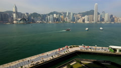Time lapse Hong Kong Tsim Sha Tsui Promenade illuminated China Stock Footage