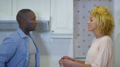 4K Relationship troubles. Couple having emotional conversation at home - stock footage