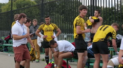 Rugby players before the match. - stock footage