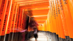 Time lapse Torii gates Fushimi Inari Taisha shrine Buddhist temple Kyoto Stock Footage