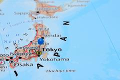 Tokyo pinned on a map of Asia Stock Photos
