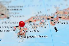 Kagoshima pinned on a map of Asia - stock photo