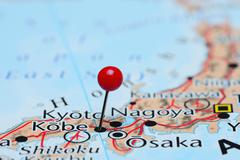 Kobe pinned on a map of Asia - stock photo