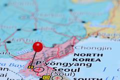 Pyongyang pinned on a map of Asia - stock photo