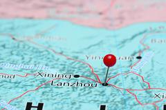 Lanzhou pinned on a map of Asia - stock photo