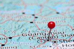 Guangzhou pinned on a map of Asia Stock Photos