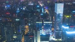 Time lapse cityscape illuminated night vehicle traffic transport Beijing Stock Footage