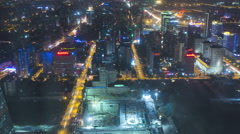 Time lapse illuminated elevated night roads traffic development Beijing Stock Footage