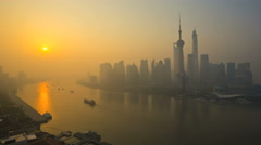 Time lapse sunrise Huangpu River Pearl Tower waterfront Shanghai - stock footage