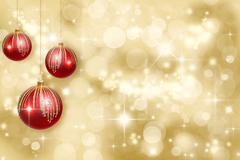 Christmas ornaments on a gold background Stock Illustration