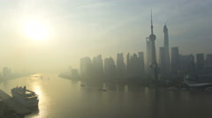 Time lapse sunrise Huangpu River Shanghai Tower Shanghai China - stock footage