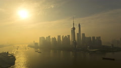 Time lapse sunrise Huangpu River Pearl Shanghai China - stock footage