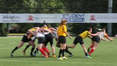Scrum Rugby 7. Players fight for the ball during the game of rugby. - stock footage
