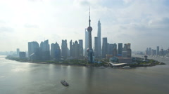 Time lapse sunrise Huangpu River Bund Oriental Pearl Tower Shanghai - stock footage