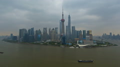 Time lapse Huangpu River Lujiazui skyscrapers Pearl Tower Shanghai - stock footage