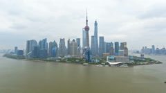 Time lapse sunrise Huangpu River Bund Oriental Pearl Tower Shanghai China - stock footage