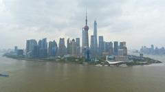 Time lapse Huangpu River Shanghai Tower Lujiazui Shanghai China - stock footage