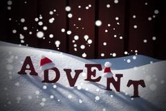 Advent Mean Christmas Time Snow Santa Hat - stock photo