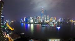 Time lapse night illuminate Bund Huangpu River Pearl Tower Shanghai - stock footage