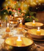 Christmas dinner table  with christmas mood - stock photo