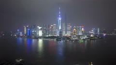 Time lapse night illuminated Shanghai Tower Huangpu River Shanghai Stock Footage