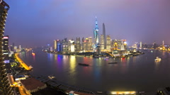 Time lapse illuminated Lujiazui The Bund Huangpu River Shanghai - stock footage