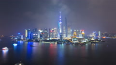Time lapse illuminated Huangpu River Oriental Pearl Tower Shanghai - stock footage