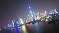 Time lapse illuminated Shanghai Tower Huangpu River Shanghai - stock footage