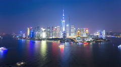 Time lapse night illuminated Shanghai Tower Lujiazui Shanghai Stock Footage