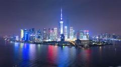 Time lapse night illuminated Shanghai Tower Lujiazui China Stock Footage