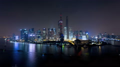 Time lapse illuminated Oriental Pearl Tower Huangpu River Shanghai - stock footage
