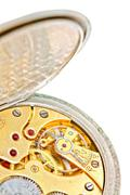 Old watch with open other side closeup. (clockwork) Old watch with open other - stock photo