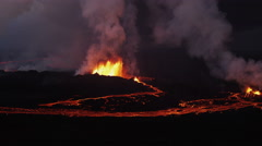 Aerial Night Volcano Lava Holuhraun Seismic Activity Land Fissures Iceland Arkistovideo