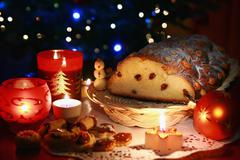 Christmas atmosphere - sweets and christmas decoration - stock photo