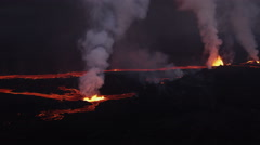 Aerial Red Hot Lava Flowing Holuhraun Volcano Geological Eruption Iceland - stock footage